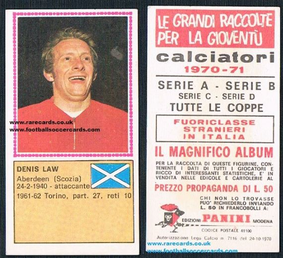 1971 Denis Law Scotland Panini Italy
